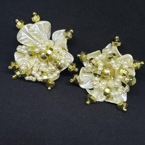 Oversize Beaded Flower Clip On Earrings 80s Big